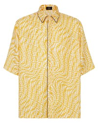 senf bedrucktes Kurzarmhemd von Fendi