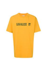 senf bedrucktes T-Shirt mit einem Rundhalsausschnitt