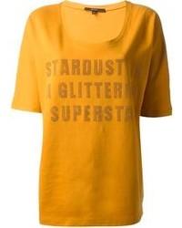 senf bedrucktes T-Shirt mit einem Rundhalsausschnitt von Gucci