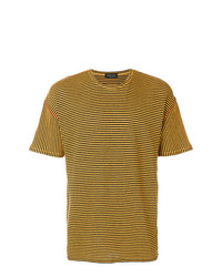 senf horizontal gestreiftes T-Shirt mit einem Rundhalsausschnitt von Roberto Collina