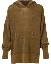 senf Pullover mit einem Kapuze