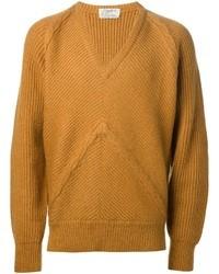 senf Pullover mit einem V-Ausschnitt