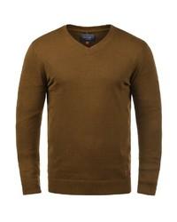senf Pullover mit einem V-Ausschnitt von BLEND