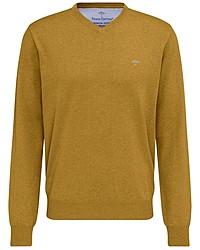 senf Pullover mit einem V-Ausschnitt von Fynch Hatton