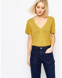 senf T-Shirt mit einem V-Ausschnitt