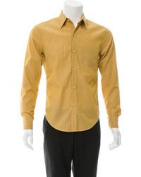 Senf vertikal gestreiftes Langarmhemd