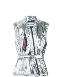 silberne ärmellose Jacke von Off-White