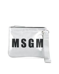 silberne bedruckte Leder Clutch von MSGM