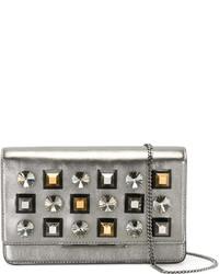 silberne beschlagene Leder Umhängetasche von Fendi