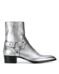silberne Chelsea Boots aus Leder von Saint Laurent