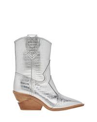 silberne Cowboystiefel aus Leder von Fendi