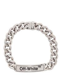 silberne enge Halskette von Off-White