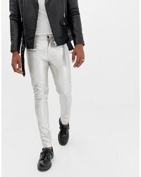silberne enge Jeans von ASOS DESIGN