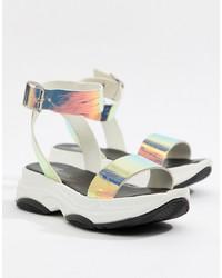 silberne flache Sandalen aus Leder von ASOS DESIGN