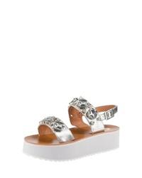 silberne flache Sandalen aus Leder von Buffalo