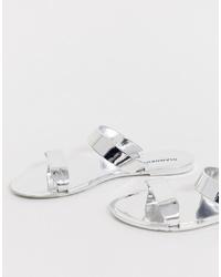 silberne flache Sandalen aus Leder von Glamorous