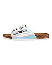 silberne flache Sandalen aus Leder von Only