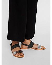 silberne flache Sandalen aus Leder von Vero Moda