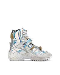 silberne hohe Sneakers aus Leder von Maison Margiela