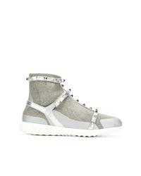 silberne hohe Sneakers von Valentino