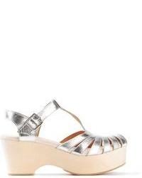 silberne klobige Leder Sandaletten