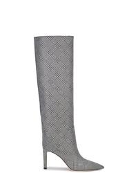 silberne kniehohe Stiefel aus Leder von Jimmy Choo