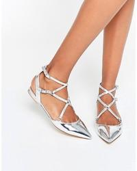 Silberne Leder Ballerinas von Aldo