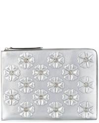 silberne Leder Clutch mit Blumenmuster von Fendi