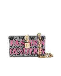 silberne Leder Clutch mit Schlangenmuster von Dolce & Gabbana