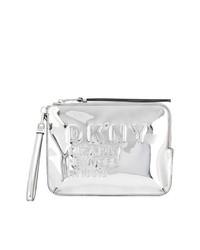 silberne Leder Clutch von DKNY