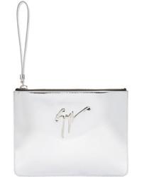 silberne Leder Clutch von Giuseppe Zanotti