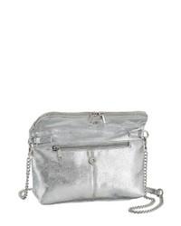 silberne Leder Clutch von Laura Scott