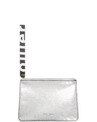 silberne Leder Clutch von Proenza Schouler