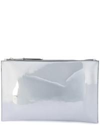 silberne Leder Clutch von Rochas