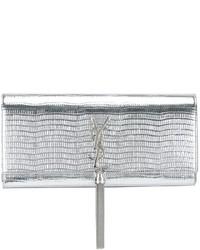 silberne Leder Clutch von Saint Laurent