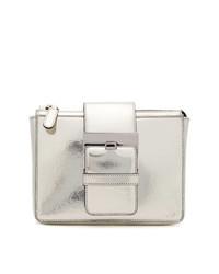 silberne Leder Clutch von Sergio Rossi