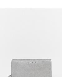 silberne Leder Clutch von Valentino by Mario Valentino