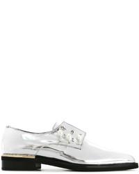 silberne Leder Derby Schuhe