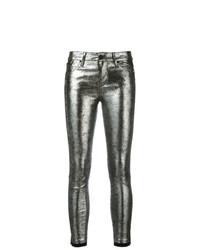 silberne Leder enge Jeans von RtA