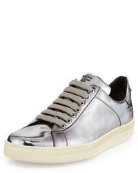 silberne Leder niedrige Sneakers