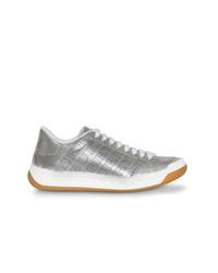 silberne Leder niedrige Sneakers von Burberry