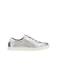 silberne Leder niedrige Sneakers von Fendi