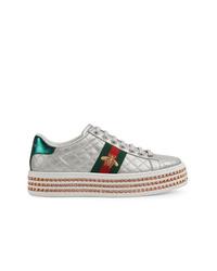 silberne Leder niedrige Sneakers von Gucci