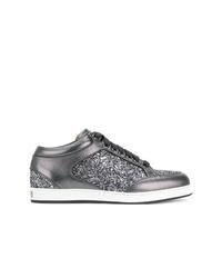 silberne Leder niedrige Sneakers von Jimmy Choo