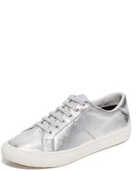 silberne Leder niedrige Sneakers von Marc Jacobs
