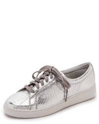 silberne Leder niedrige Sneakers von Michael Kors