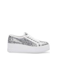 silberne Leder niedrige Sneakers von Miu Miu