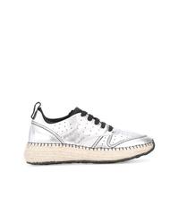 silberne Leder niedrige Sneakers von Tod's