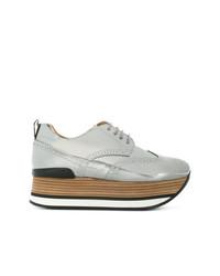silberne Leder Oxford Schuhe von Hogan