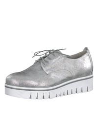 silberne Leder Oxford Schuhe von Tamaris